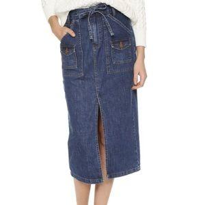 Madewell Front Slit Denim Jean Skirt